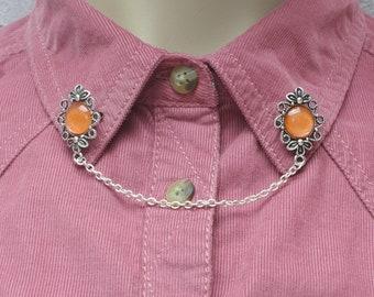 Orange Collar Pins, Sweater Pins, Victorian Brooch, Collar Chain, Victorian Jewellery, Lapel Pins, Collar Brooch
