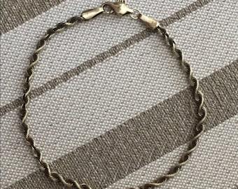 """Solid 14k Vintage 7.25"""" Rope Bracelet"""