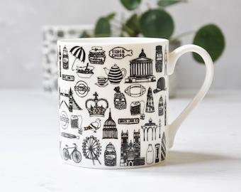 British Mug – British Gift – London Illustration – Gift for Him