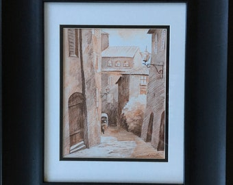 Beautiful drawing of a quiet street in Siena, Italy. Wall art, watercolor pencils.