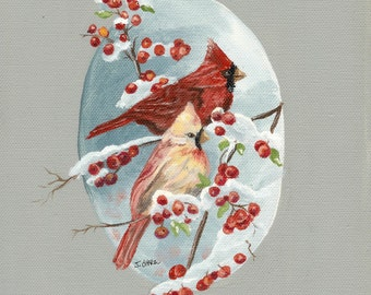 Cardinals in the Snow Limited Edition with free aceo