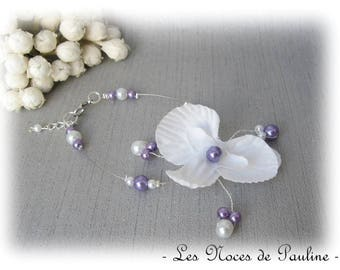 Wedding white and Purple Orchid Butterfly Esther bracelet