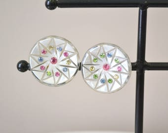 1950s Lucite and Rhinestone Clip Earrings