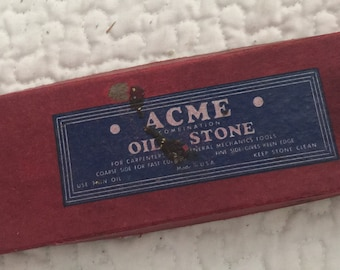 Acme Two Sided Combination Oil Stone - Made In The USA