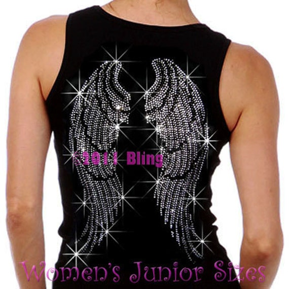Large Angel Wings Iron On Rhinestone Ribbed Tank Top Bling