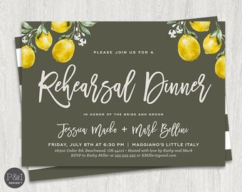 Lemon Rehearsal Dinner Invitation | 7x5 | Digital File