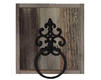 Reclaimed Barn Wood Rustic Cast Iron Towel Ring
