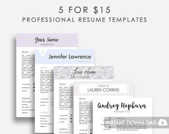 Resume Template Bundle 5x, Resume Template MS Word, MS Word Resume Template, Resume Template Microsoft Word, Resume Template Pages, Word Cv