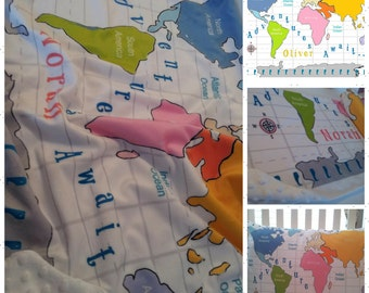 World map blanket etsy world map personalized 2 layer blanket 2 sizes colorful text pink color way gumiabroncs Gallery
