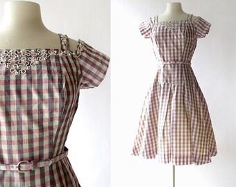 1950s Gingham Dress | Carousel | 50s Dress | S M