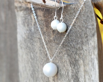 Sterling Silver Pearl Bridesmaid Jewelry Set, Vintage Matte White Jr Bridesmaid Pearl Jewelry Gift Set, Bridesmaid Set, Choose Color