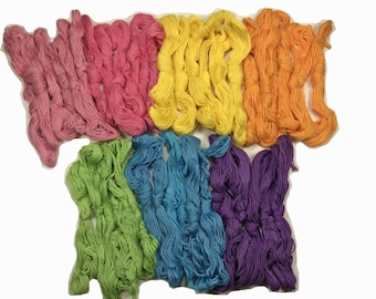 Embroidery Floss Threads - Friendship Floss Thread - Hand Embroidery Quilting - Braid Bracelet Craft Floss Rainbow 7 Colors