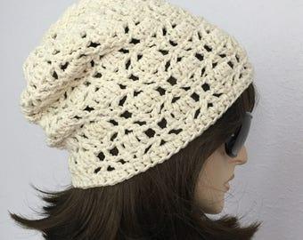 Women Crochet Summer Hat Women Summer Slouchy Beanie in Natural Color  Women Spring Hat