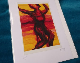 Red Female Nude Card - Joy - blank greetings card - sunrise, sunset, yellow, painting, expressionist, birthday card, handmade, reduced price