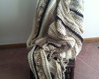 Afghan Throw Decor Striped neutral beige brown