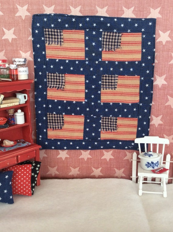 """Miniature Americana Red and Blue Flag Quilt 6 3/4"""" x 7 3/4"""""""