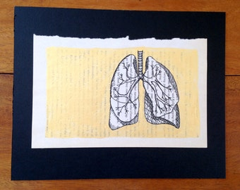 breath (black ink drawing of lungs with gold gouache background)