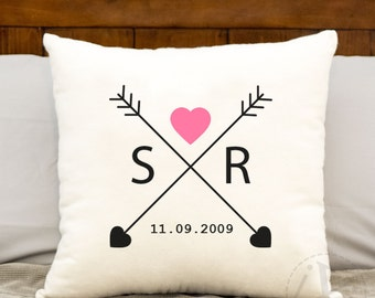 Love arrows, 14 x 14 monogrammed initials pillow,Personalized pillow cover,2nd anniversary gift,bridal shower gift, est date, Cotton Gift
