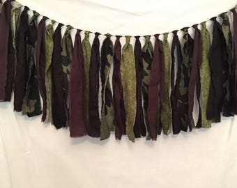 Camo Fabric Garland/Camouflage Decoration/Camo Bridal Shower/Green Camo Decor/Camouflage Party/Camo Wedding/Camo Garland/Camo Birthday Party