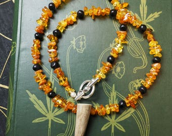 Baltic Amber and  Lignite Jet Witches Necklace with Stag Antler - Witches Necklace - Organic Jet