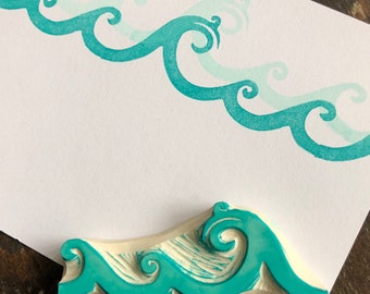 Ocean Waves Rubber Stamp Hand Carved Sea
