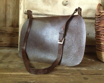 French Rustic Leather Canvas Hunting, Fishing, Game, Falconry Bag and Game Carrier Netting