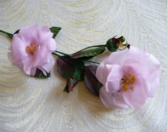Vintage Small Silk Wild Roses and Buds NOS Pink Millinery Spray for Corsage Floral Crowns Hair Pins Crafts Dolls