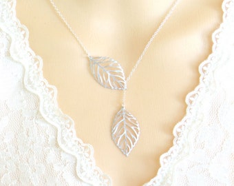 Leaf Necklace, Leaves Necklace, Lariat Necklace, Leaf Charm, Everyday Jewelry, Gift for Mom, Gift for Best Friends, Gift for Her