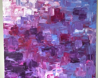 Original impasto blue, violet, and crimson abstract painting