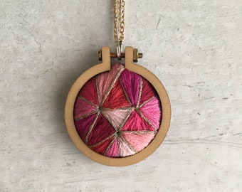 Embroidered Ruby Pendant