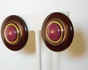 Large Round Burgundy Dark Pink Gold Accents Pierced Earrings