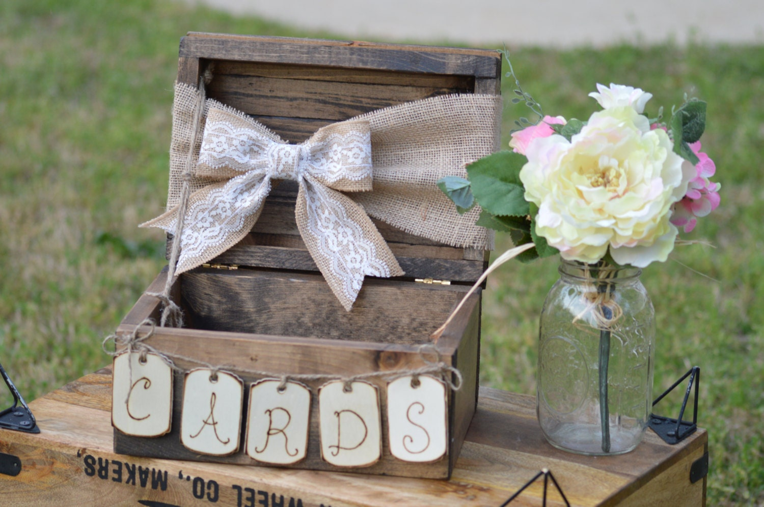 Burlap And Lace Wedding Card Box Shabby Chic Wedding Card