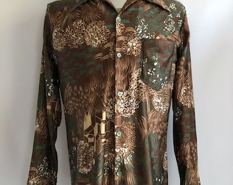 Vintage Men's 70's Disco Shirt, Long Sleeve, Nylon, Button Down by Jantzen (M)