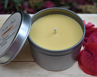 Organic Orange Scented Candle, Beeswax and Coconut Oil Candle, Essential Oil Candle, Non Toxic, Air Purifying