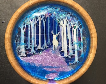Mist forest- miniature 3D resin painting in wood bowl