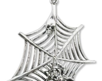 Spider and Skull on Web Silver Finish Pewter Pendant Necklace NK-359
