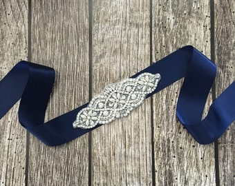 Navy wedding sash, rhinestone wedding sash, all white sash, wedding belt, simple wedding sash, navy sash