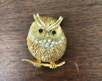 Vintage Gold Owl Brooch