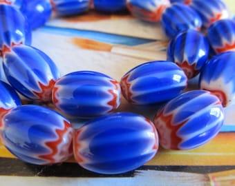 Cobalt Blue Chevron Trade Beads, Bright Blue Venetian Glass Star Bead, Rosetta African Trade Bead, Oval Glass Beads, 1 Str