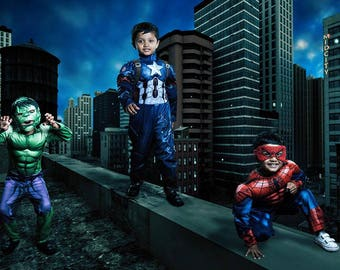 Digital Background, Superhero Photography Backdrop, Spiderman Backdrop, Superman, Avengers, Rooftop Digital Backdrop, Cosplay Background
