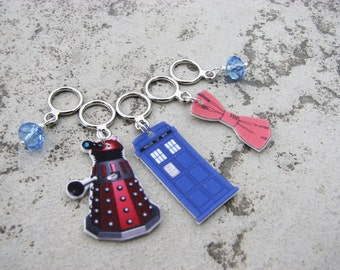 Doctor Who Stitch Markers with TARDIS, Dalek, and Bow Tie with Non-Snag Rings