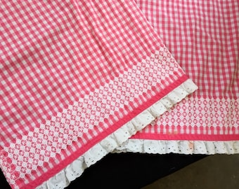 Pair of Pink and White Gingham Pillowcases with Chicken Scratch Embroidery and Eyelet Trim