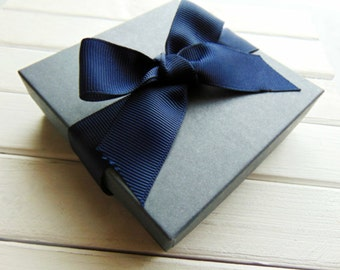 Gift Box with Navy Ribbon - Gift Wrap - upgrade- Gift ready to give option - Bow also available in Aqua or Off White