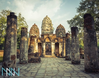 Temple Poster Fine Art Print. Travel Thailand Asia Wall Art Photography  Wat Sri Sawai Sukhothai