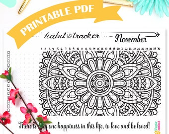 Habit Printable • Habit Tracker Mandala • November 2017 • Bullet Journal • A5 Planner Inserts • Daily Habits • Productivity Planner • Health