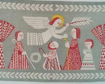 Swedish tapestry. Lisbeth/ Gocken Jobs textile. Scandinavian 50s. Nordic vintage. Christmas native design, crib. Very rare.