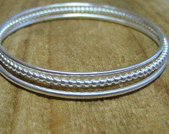 Set of 3 Heavy Sterling Silver Bangles 1 Solid Beaded and 2 Smooth Custom Size HANDMADE FOR YOU