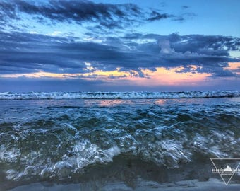 Sunset Waves - Wells Beach, Maine - Photography