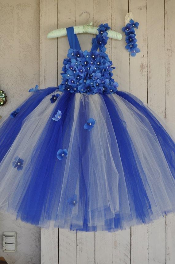 Royal Blue Ivory Dress Infant Flower Girl Dress Royal Blue