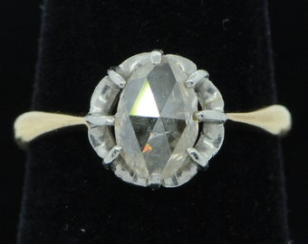 Antique (ca.1880's), 18K Yellow Gold-Platinum, Rose Cut Diamond Ring (Size 3 1/2)